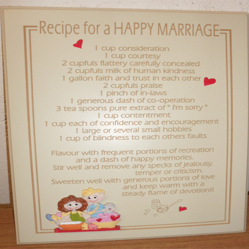 Recipe For A Happy Marriage Sign