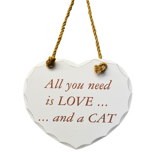 'All you need is love and a cat' white wooden heart hanging sign, by Leonardo