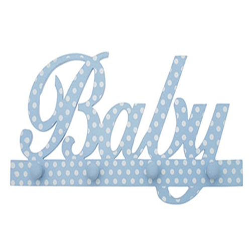 'Baby Boy Hanger' in blue with white polka dots