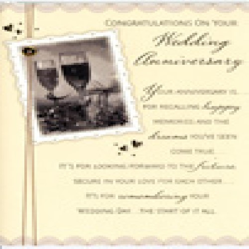 'Congratulations on your wedding anniversary' Card by Hambledon Studios