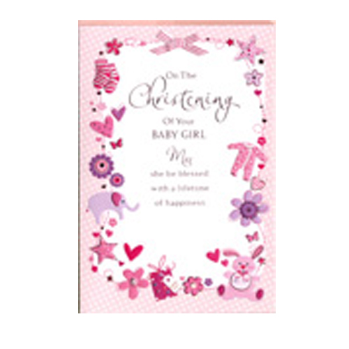 'On the Christening of your Baby Girl' card by Simon Elvin