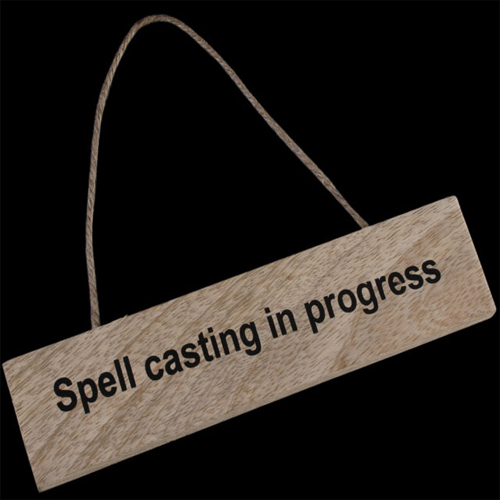 'Spell Casting In Progress' wooden hanging sign