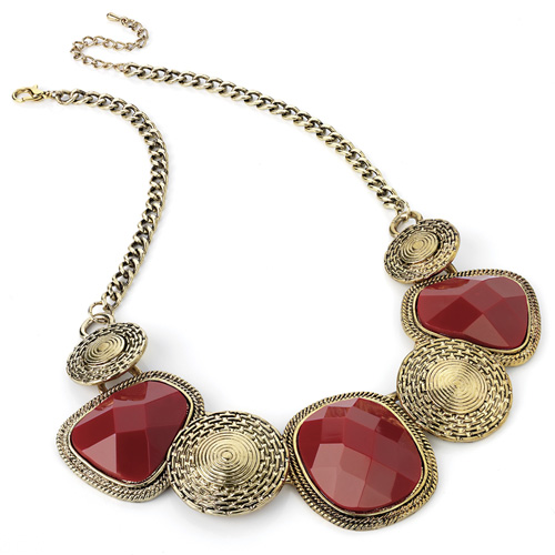 Antique Inspired Gold & Red Bead Necklace