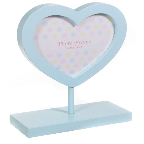 Baby Blue Wooden Heart Shaped Photo Frame on a Baby Blue Stand