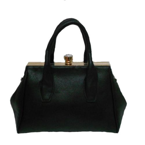 Black Grab Handbag with crystal clasp