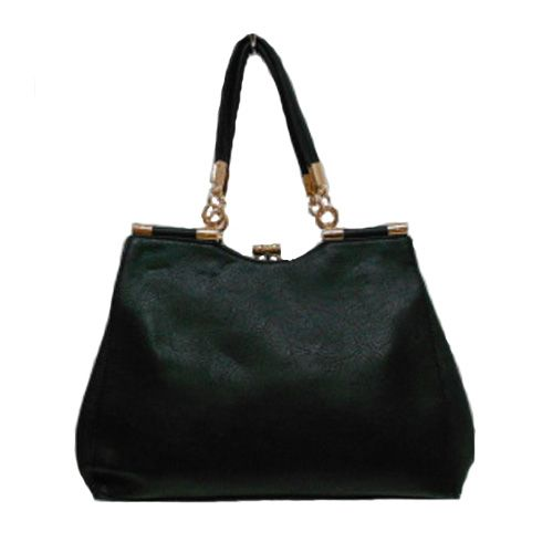 Black Shoulder Handbag with Gold Trim