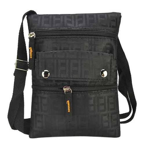Black Zip Detail Shoulder Bag in Geometric Print