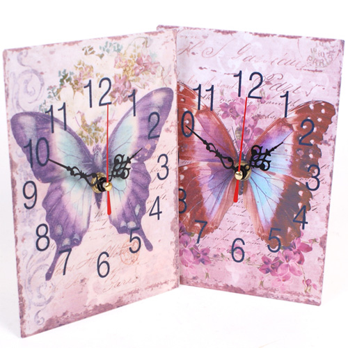 Butterfly Clock with floral background
