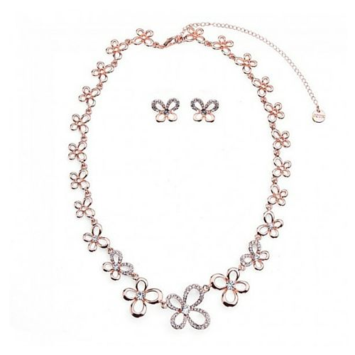 Butterfly Shape Diamante Necklace & Earring Set