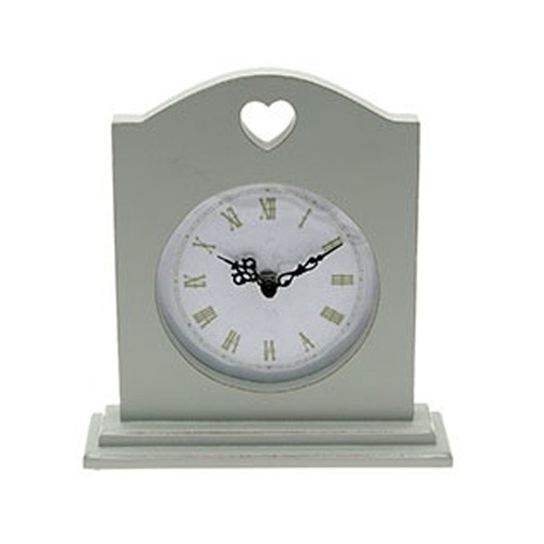 Chic Sage Clock with a cut out heart for decoration, by Leonardo