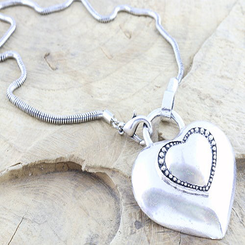 Chunky Metal Heart Pendant on a Snake Chain