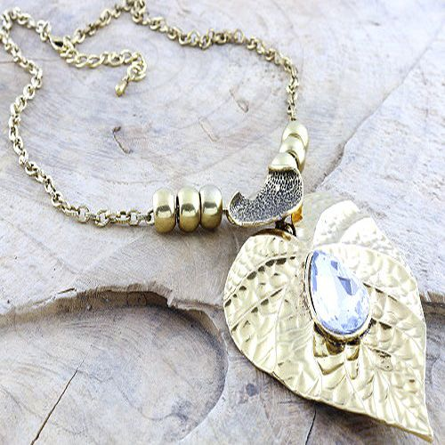 Chunky Metal Leaf and Abstract Heart in Gold Tone
