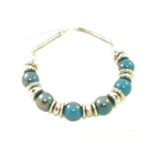 Chunky Silver colour discs and beads with Turquoise Coloured Balls on Snake Chain