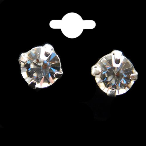 Clear Round  Crystal Stud Earrings
