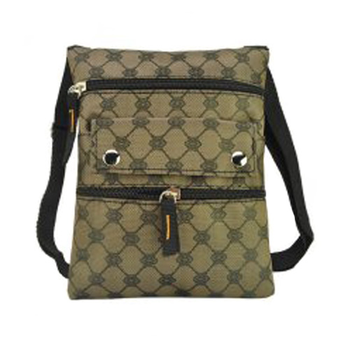 Coffee Classic Pattern Front Zipper Leisure Handbag
