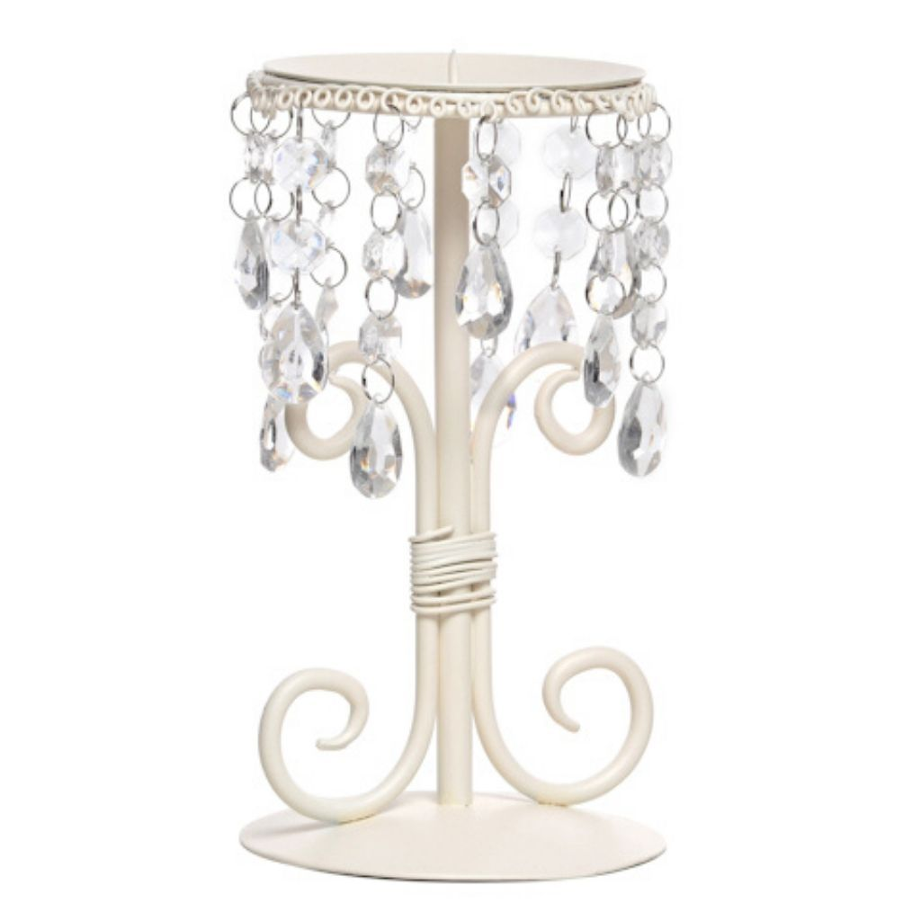 Cream candle holder with crystal droplets