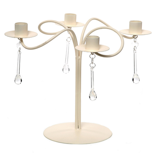 Cream Metal swirl Candelabra with crystal droplets