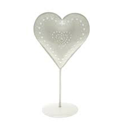 Cream Patterened Shape Heart on a Cream Stand with Two Tealight Holders, from the Leonardo Collection