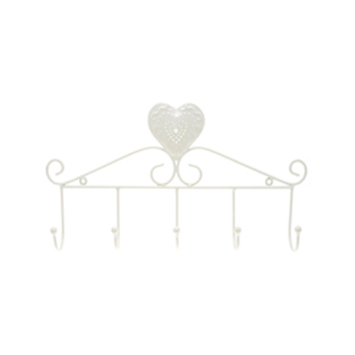 Cream Wire Heart & Scroll Design Hanger with five hooks to hang stuff on