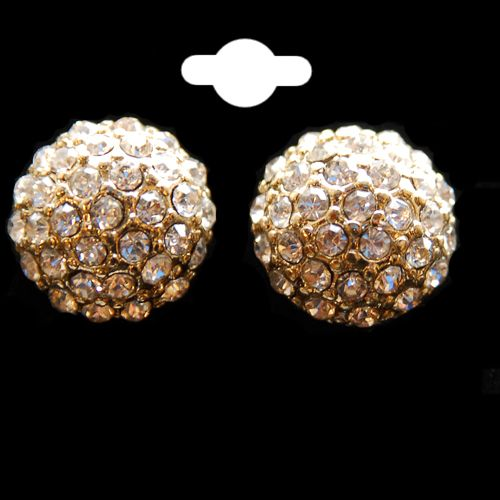 Crystal & Gold Colour Half Round Circle Stud Earrings