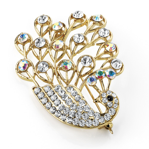 Crystal Peacock Brooch in a gold colour decorated with AB Crystals