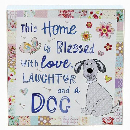 Cutie Dog Love and Laugh Sign