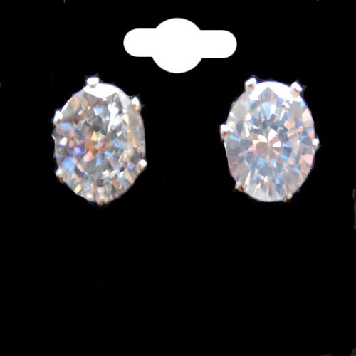 CZ Crystal Rhodium Colour Stud Post Earrings