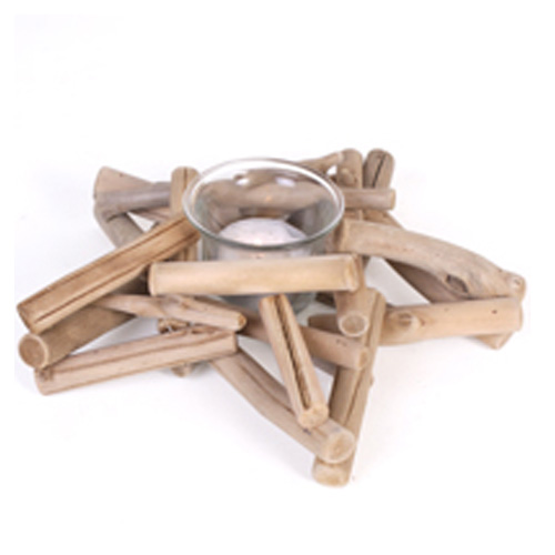 Driftwood Twig Star shape candle holder with glass candle jar