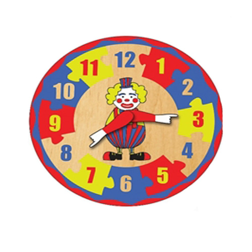 Educational Retro Wooden Clown Clock