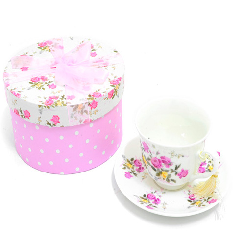 Fine China Cup & Saucer Set with a pink rose spray pattern