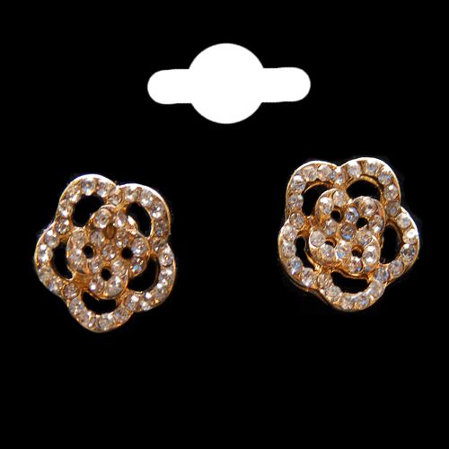 Flower Head Gold & Crystal Stud Earrings
