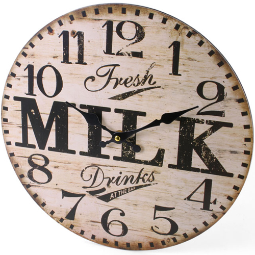 Fresh Milk Design Round Wooden Wall Clock
