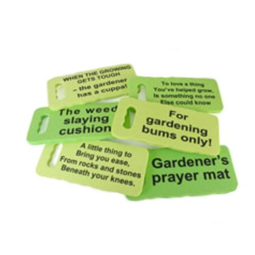 Garden Kneeling Cushions with various sayings on them
