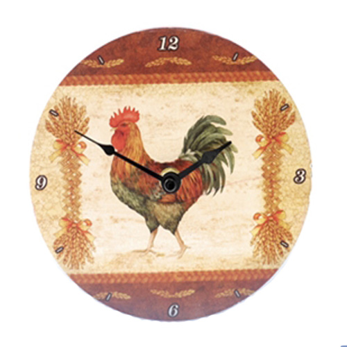 Glass Rooster Design wall clock