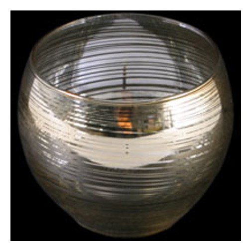Gold circles design glass candle holder