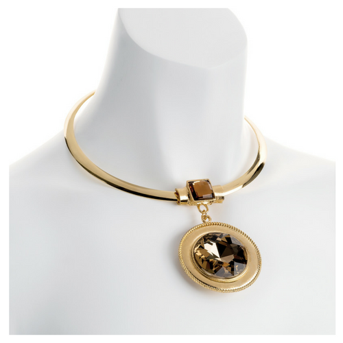 Gold Colour Collar with a Brown Glass Pendant