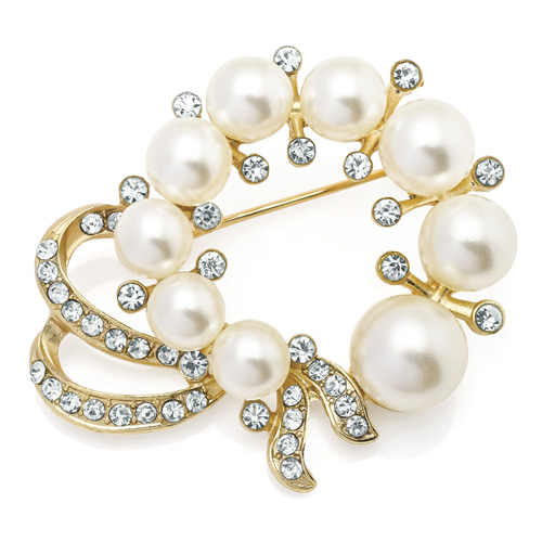 Gold Colour Crystal & Cream Pearl Colour Brooch