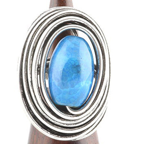 Handmade Silver Twisted Wire Ring with a large Blue Glass Stone