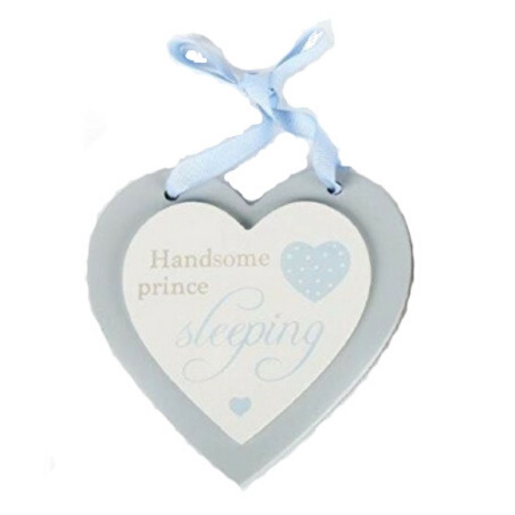 Hanging Wooden Baby Design Double Heart Sign