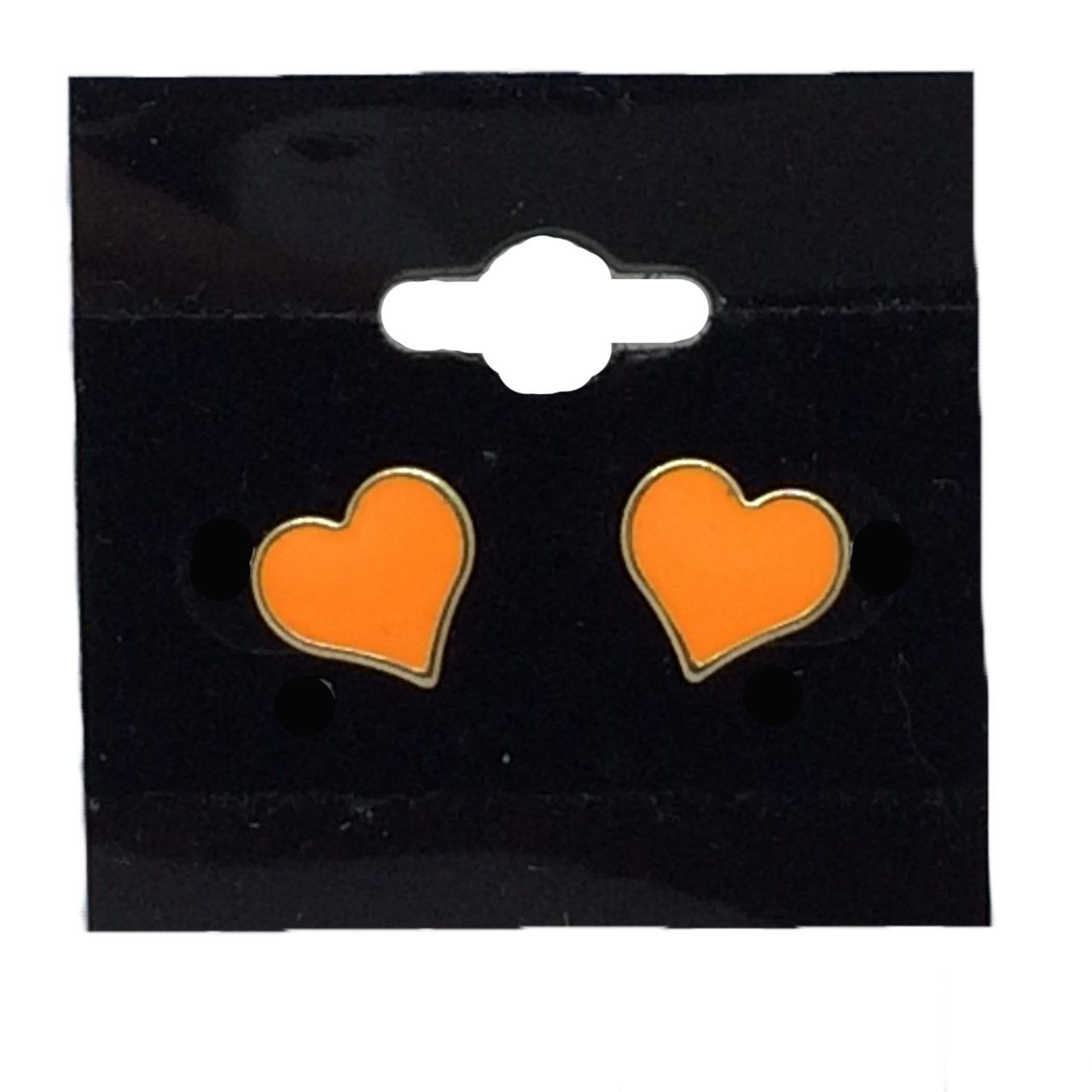 Heart Earrings Trimmed In A Gold Colour and are in White or Orange