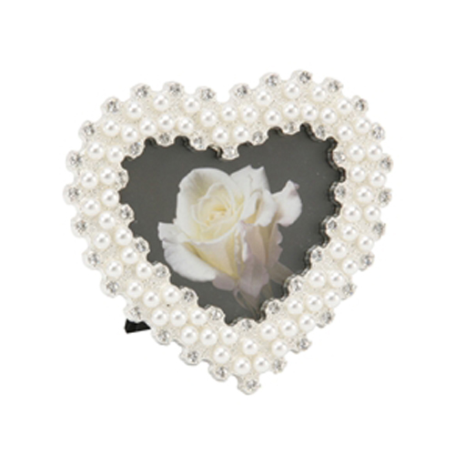 Heart Shape pearl & crystal photo frame