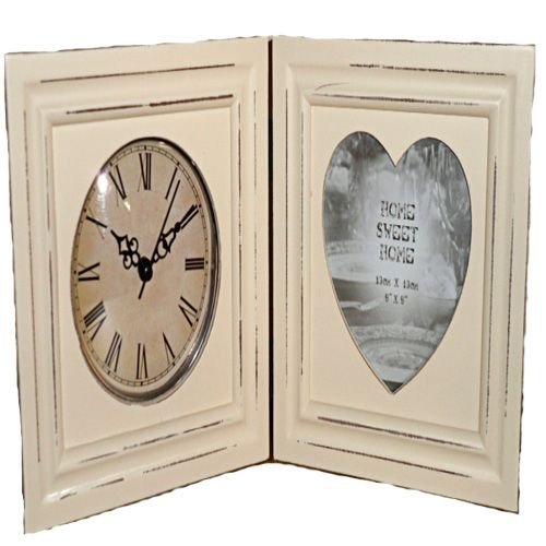 Home Sweet Home Shabby Chic Cream Clock and Cream Cut Out Heart Photo Frame