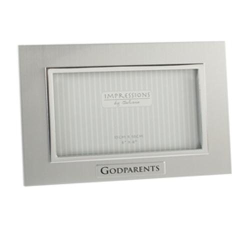 Impressions by Juliana Aluminium Silver Frame saying 'Godparents'