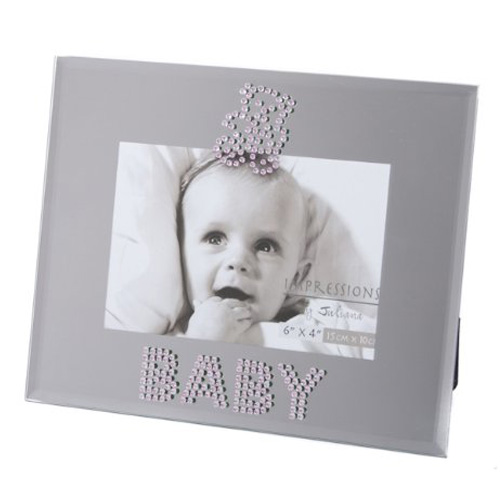 Impressions Mirrored Glass Baby Frame for a Baby Girl