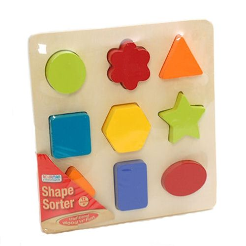 Kids Wooden Wood Shape Puzzle Sorter