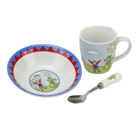 Knights and Dragon Design Breakfast Set for a Boy