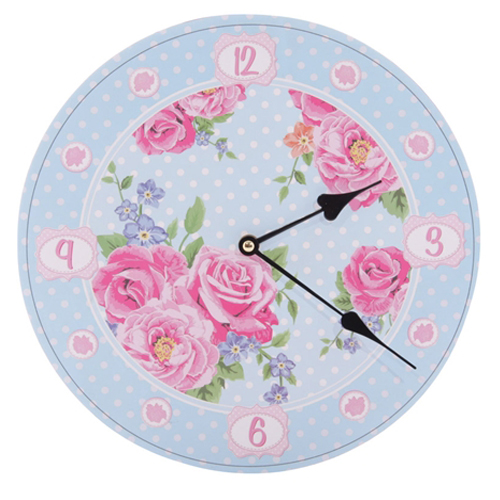 Laura Bell Chintz Wall Clock with a beautiful floral design, from the Laura Bell Collection