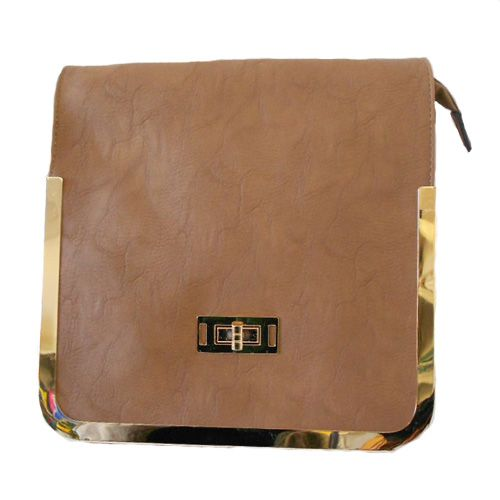 Light Brown/Taupe Satchel Style Handbag trimmed in Gold