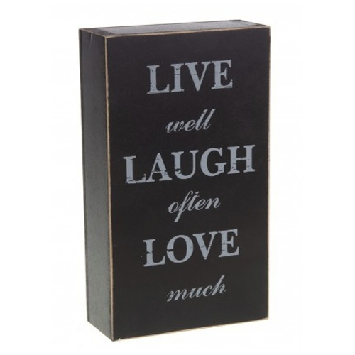 Live Well, Laugh Often and Love Much Black Wooden Free Standing Block