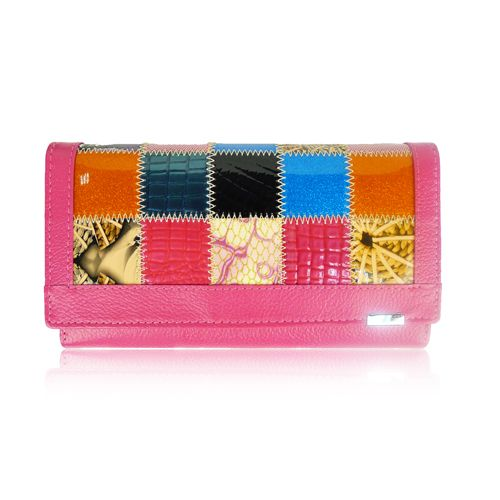Long Pink Patchwork Real Leather Purse